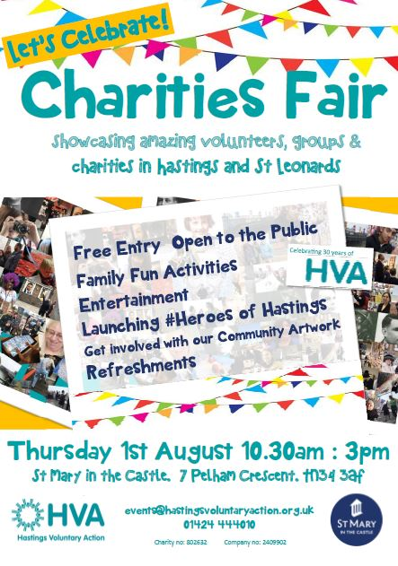 HVA is celebrating the start of its 30th year by organising a FREE family friendly event showcasing Hastings & St Leonard's amazing volunteers, groups and charities.   Thursday August 1st 10.30am - 3pm, St Mary in the Castle  If you are an organisation or group and want to book a place for your display please contact Kim events@hastingsvoluntaryaction.org.uk